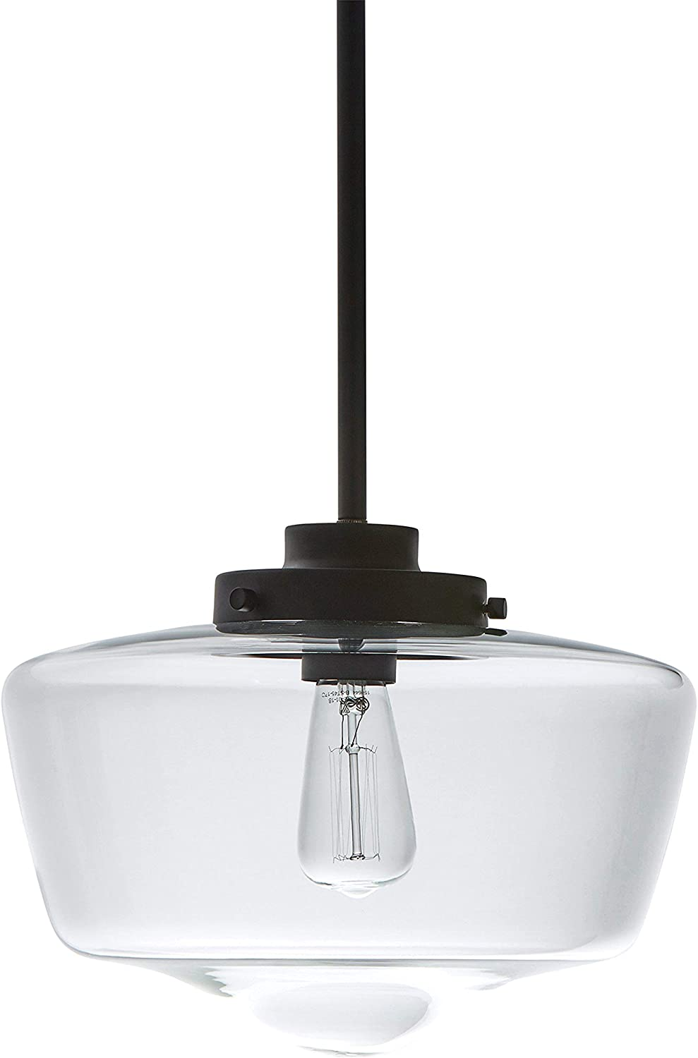 Stone Beam Schoolhouse Ceiling Pendant Fixture With Light Bulb And Clear Glass Shade – 11 x 11 x 18 Inches, 6 – 48 Inch Cord, Matte Black