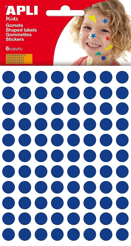 APLI - Bolsa de gomets redondos 10 mm, color azul, 6 hojas 13231
