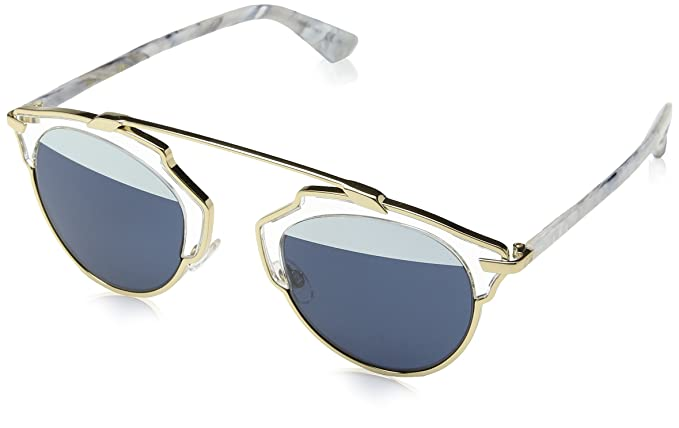 Christian Dior Damen Sonnenbrille Diorsoreal 90 1TL, Gold (Gold White Marble/Blwht Cn Coral), 48