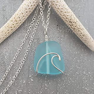 product image for Handmade in Hawaii, wire wrapped ocean wave blue sea glass necklace, (Hawaii Gift Wrapped, Customizable Gift Message)