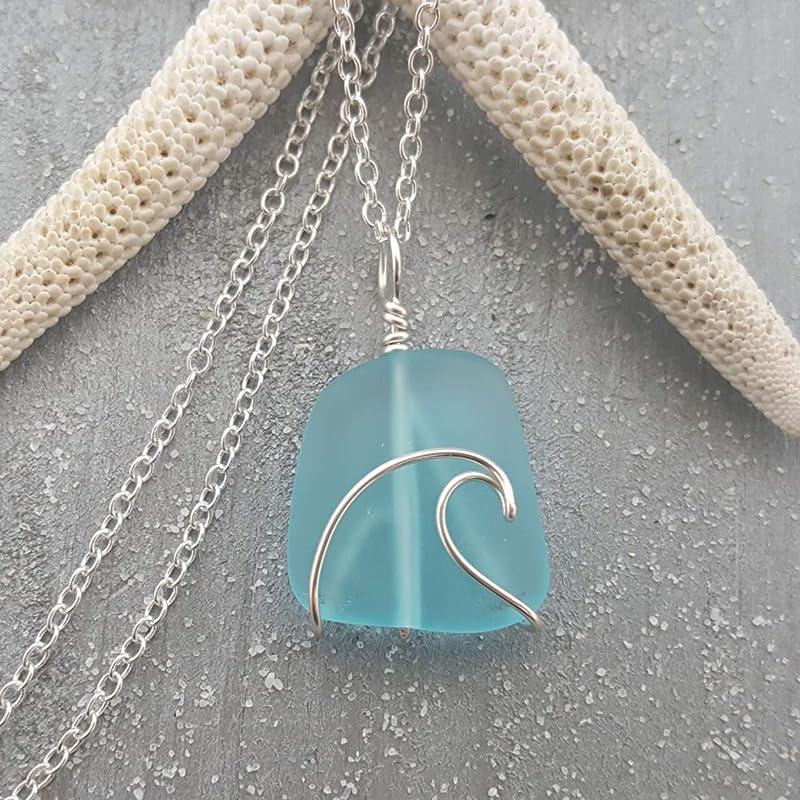 Aqua Blue Wire Wrapped Lake Michigan Beach Glass Necklace