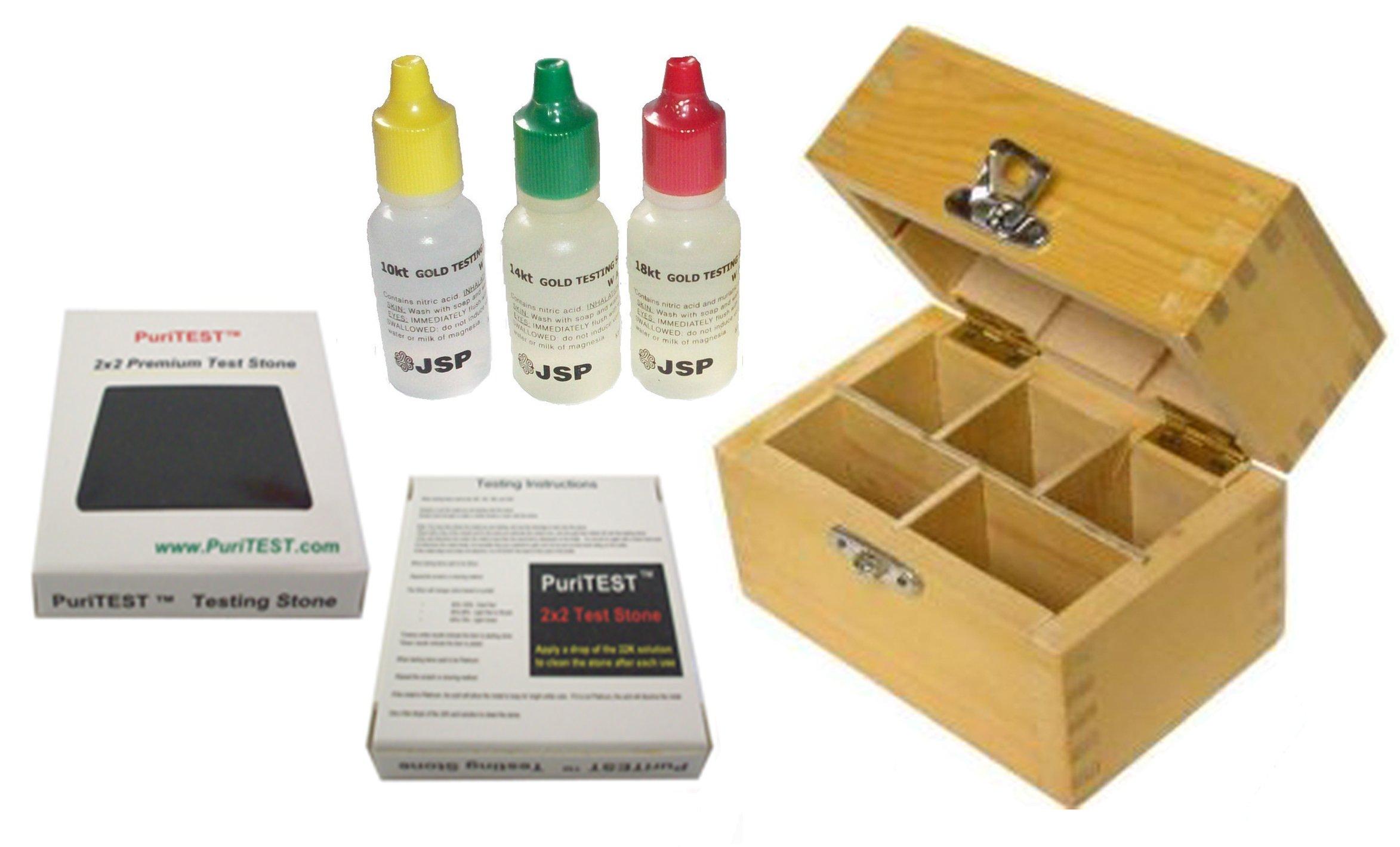 JSP 10k/14k/18k Gold Test Acid Solutions Tester Kit Detect Metals Scrap Jewelry + Wooden Box + PRO 2x2'' Testing Stone