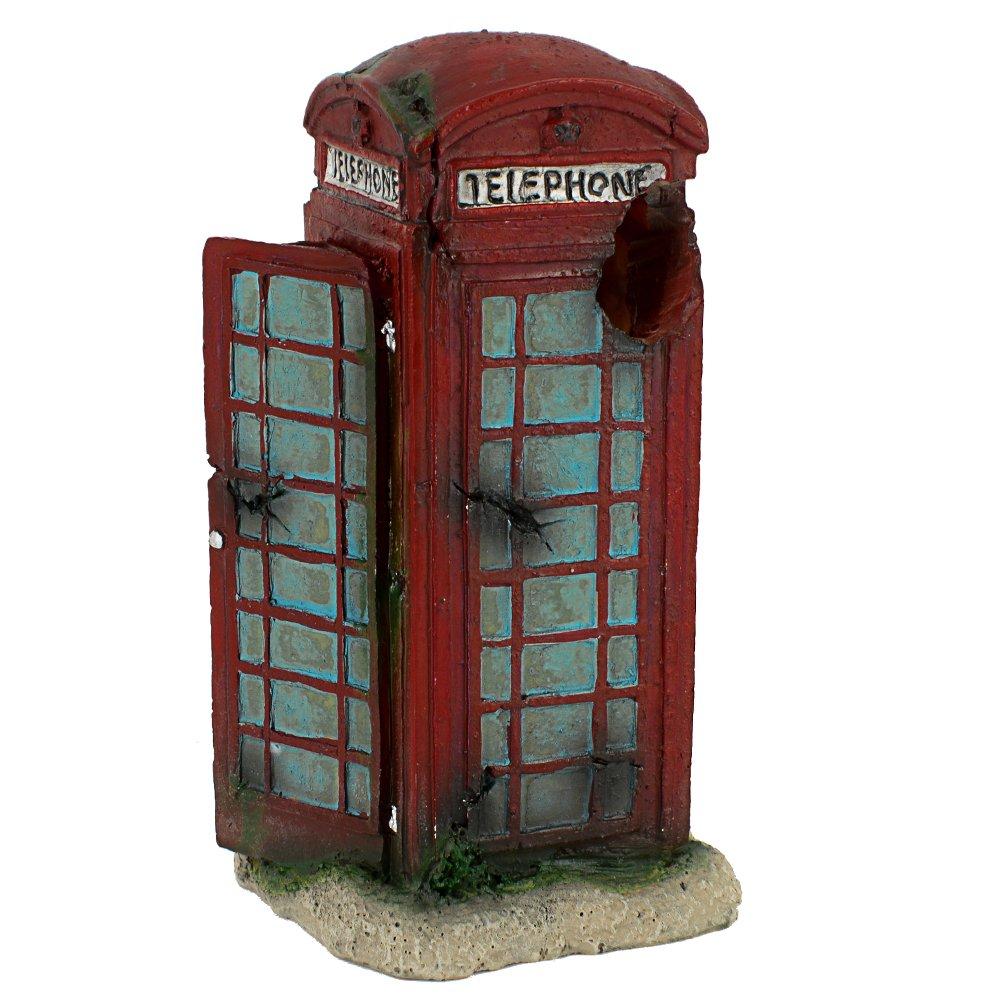 Hygger Aquarium Ornament Fish Tank Decorations Cave Hideouts for Hiding - Public Telephone Booth, Small Size