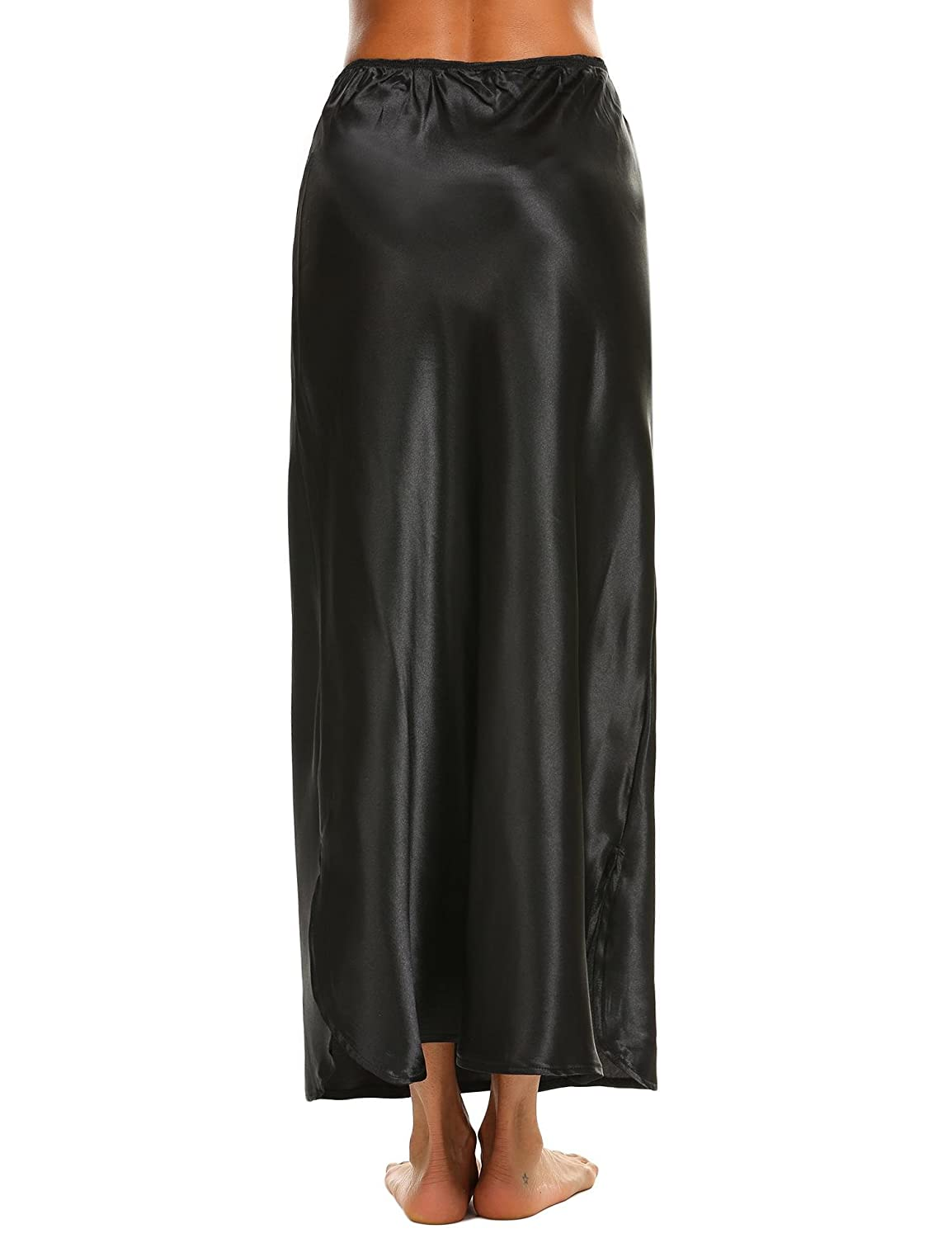 6982b656 Black Aimado Women Casual Half Slip Sides Seam Open Solid Calf Length  Skirt(S,