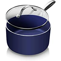 Granite Stone Diamond Blue Saucepan with Ultra Nonstick & Durable Mineral Derived & Diamond Reinforced Surface, Stay…