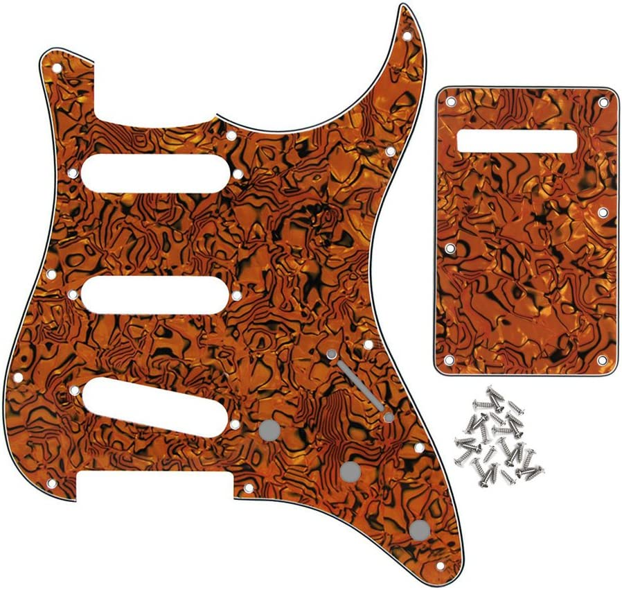 Scratchplate Standard Stratocaster Squier SSS Orange with Backplate Screws