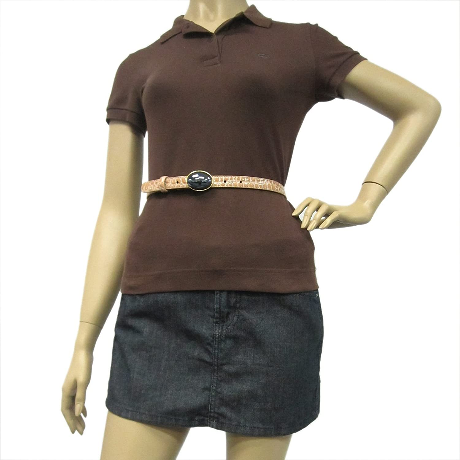 """3/4"""" Women's Fashion Oval Buckle with Precious Stone on Quality Croc Leatherette Belt"""