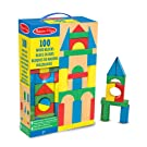 Melissa & Doug Wooden Building Blocks Set (Developmental Toy, 100 Blocks in 4 colours and 9 Shapes, 34.29 cm H x 8.89 cm W x 22.86 cm L)