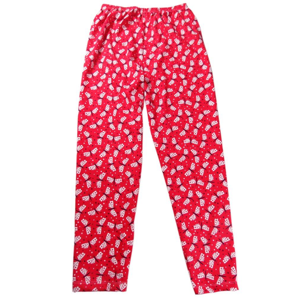ENJOYNIGHT Women\'s Stretch Cotton Pajama Pants Print Sleepwear (One Size (fits for S-XL), Red Dragonfly)