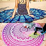 Mandala Round Set of 2 Tapestry Throw Hippie Indian Mandala Roundie Picnic Table Cover Hippy Spread Boho Gypsy Cotton Tablecloth Beach Towel Meditation Round Yoga Mat - 72 Inches, Pink and Blue