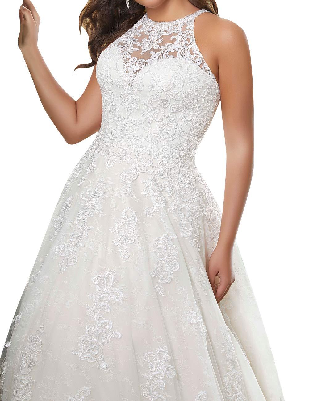Wedding Dress Lace Bride Dresses Halter Wedding Gown Plus Size Wedding  Dresses A Line Bridal Gowns Ivory