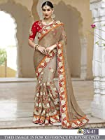 Sunshine Fashion Grey Color Victori Silk,Naylon Mono Net Fabric Thread Fancy Work Saree ( New Arrival Latest Best Choice and Design Beautiful Sarees and Salwar suits and Dress Material Collection For Women and Girl Party wear Festival wear Special Function Events Wear In Low Price With Todays Special Offer with Fancy Pattern Designer Blouse and Bollywood Collection 2017 Good Looking Clothes )