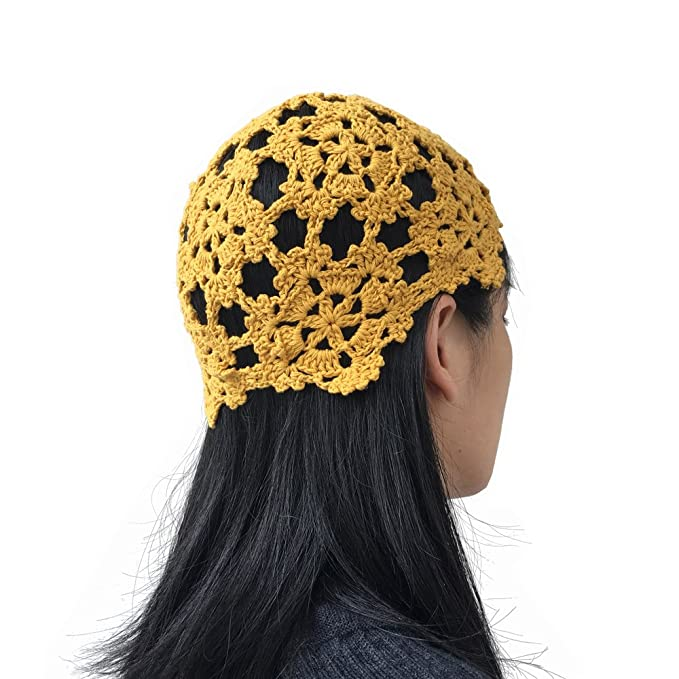 2a92f23087b MARZE Crochet Hats for Women Summer Floral Hollow Out Knit Beanie Hats  Handmade Knitting Caps (