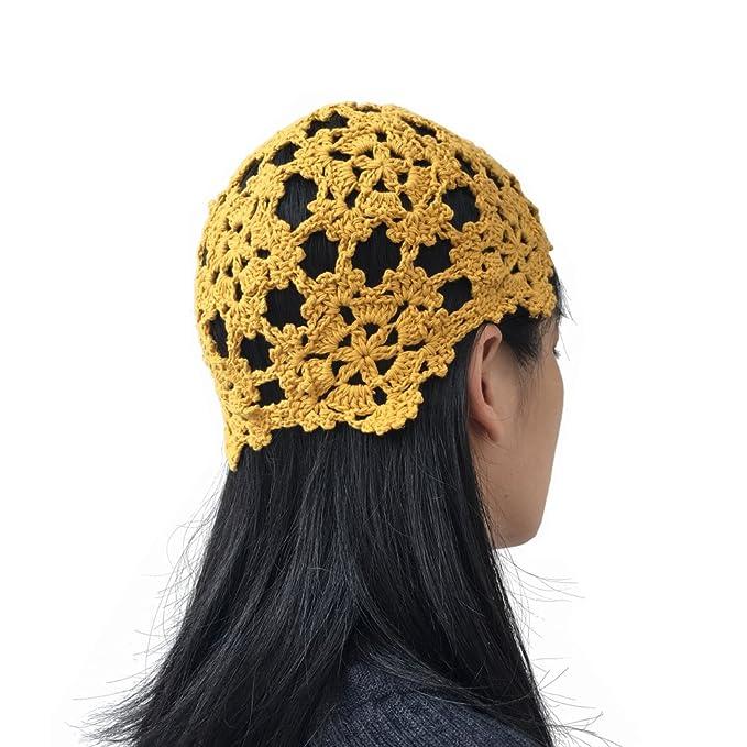97a496b0d9d MARZE Crochet Hats for Women Summer Floral Hollow Out Knit Beanie Hats  Handmade Knitting Caps (