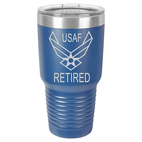 Blue with Clear Retired Air Force Stainless Steel Insulated Tumbler Sip-Style Lid.