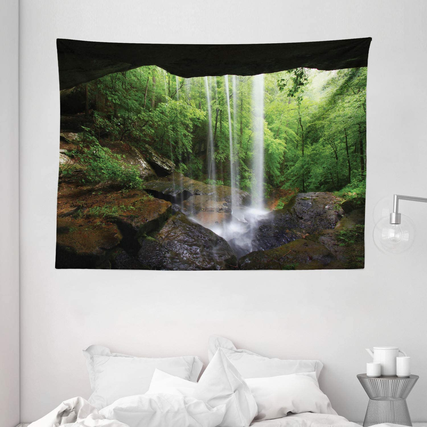 "Ambesonne Natural Cave Tapestry, Still Waterfall in The Forest in Northern Alabama Habitat Ecosystem Scenery, Wide Wall Hanging for Bedroom Living Room Dorm, 80"" X 60"", Green Brown"