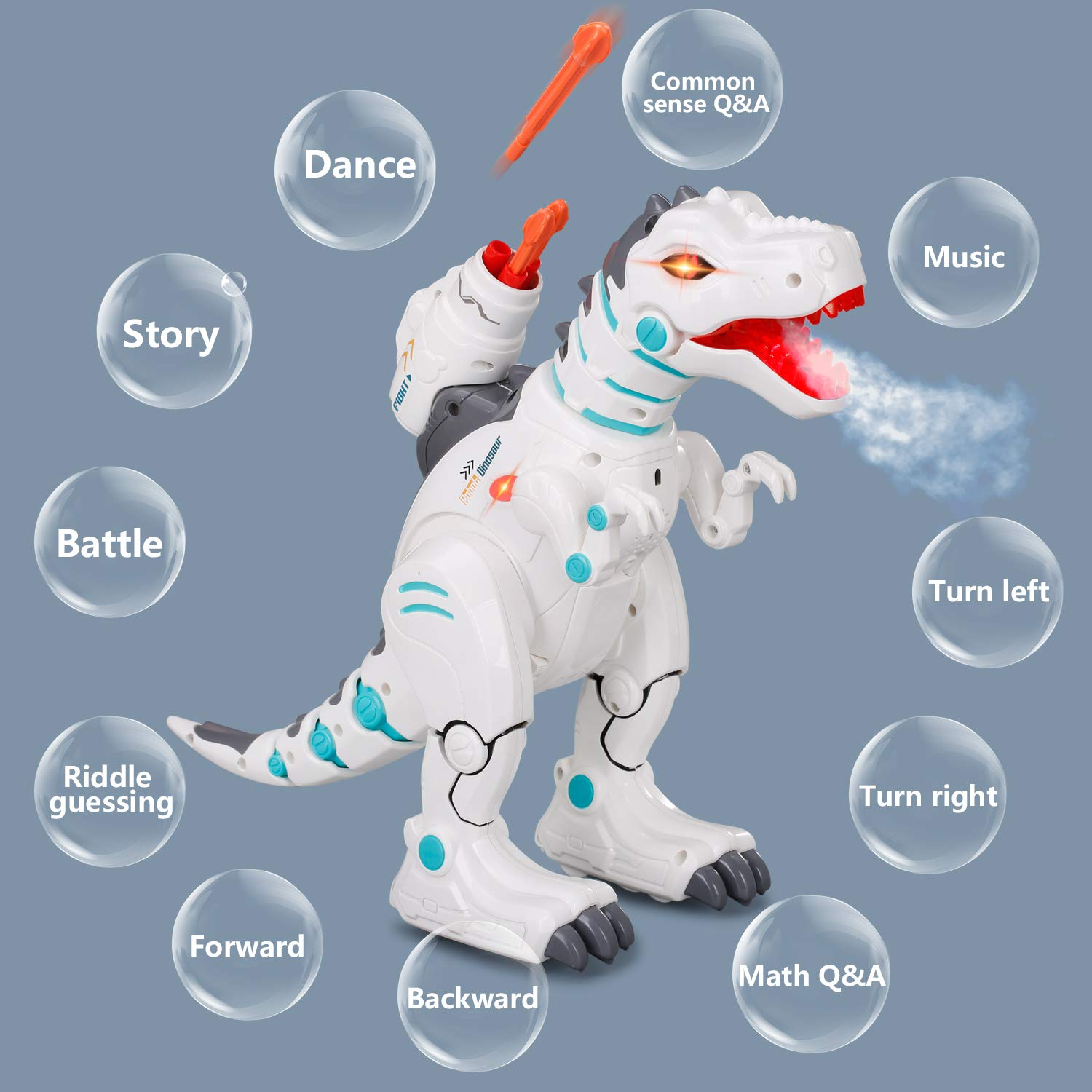 JIEQI Remote Control Dinosaur Robot for Kids,Intelligent Robot Toys Sings Dances Sprays Mist Launches Missiles Walking Fight Models Electronic RC Robot Toys for Boys Girls Gift by JIEQI (Image #4)