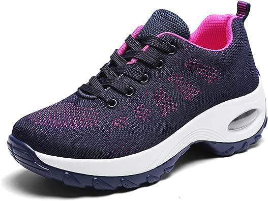 WOWEI Zapatillas Deportivas de Mujer Ligero Respirable Running Sneakers Mesh Plataforma Mocasines Zapatos de cuña 35-42 EU: Amazon.es: Zapatos y complementos