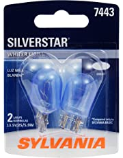 SYLVANIA - 7443 SilverStar Mini Bulb - Brighter and Whiter Light, Ideal for Daytime Running Lights (DRL) and Back-Up/Reverse Lights (Contains 2 Bulbs)