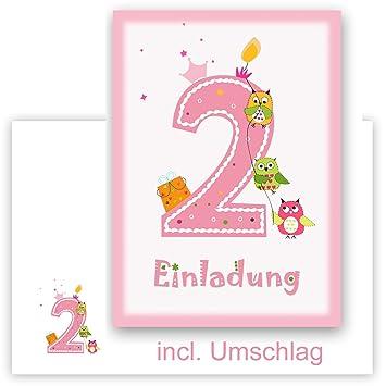 12 Einladungskarten Kindergeburtstag Zum 2 Geburtstag In Rosa Mit