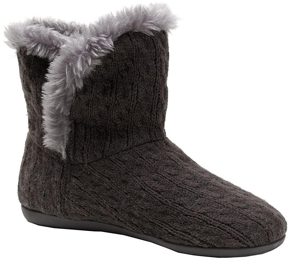 Vionic Kari Women's Slipper Boot Grey Cable 6 Medium