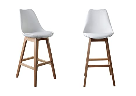 Attraction Design Bar Stools With Pp Seat Pu Cushion Foam Inside Beech Leg Set Of 2 (White) by Attraction Design