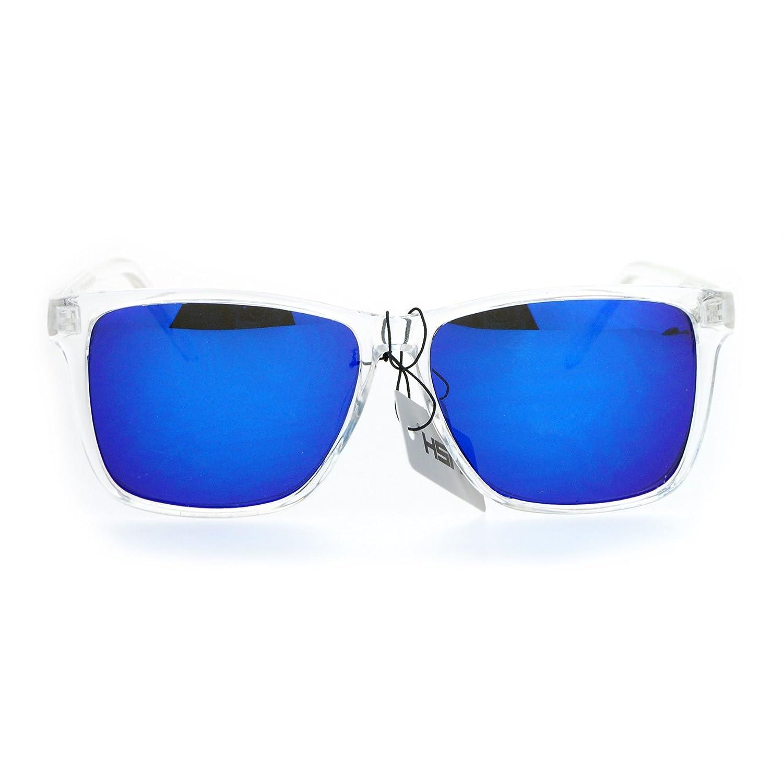 SA106 Kush Color Mirror Large Clear Plastic Frame Sport Sunglasses