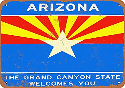 Welcome to Arizona Tin Wall Sign Funny Iron Painting Vintage Metal Plaque Decoration Warning Sign Hanging Artwork Poster for Bar Café Park
