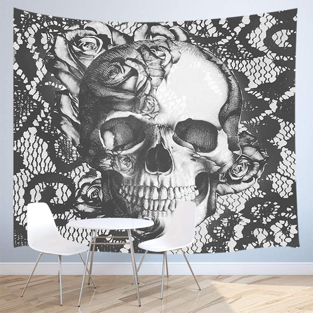 JAWO Skull Decor Tapestry Wall Hanging, Vintage Skull Rose Flower Tapestry, Polyester Fabric Wall Tapestry for Home Living Room Bedroom Dorm Decor 71W X 60L Inches