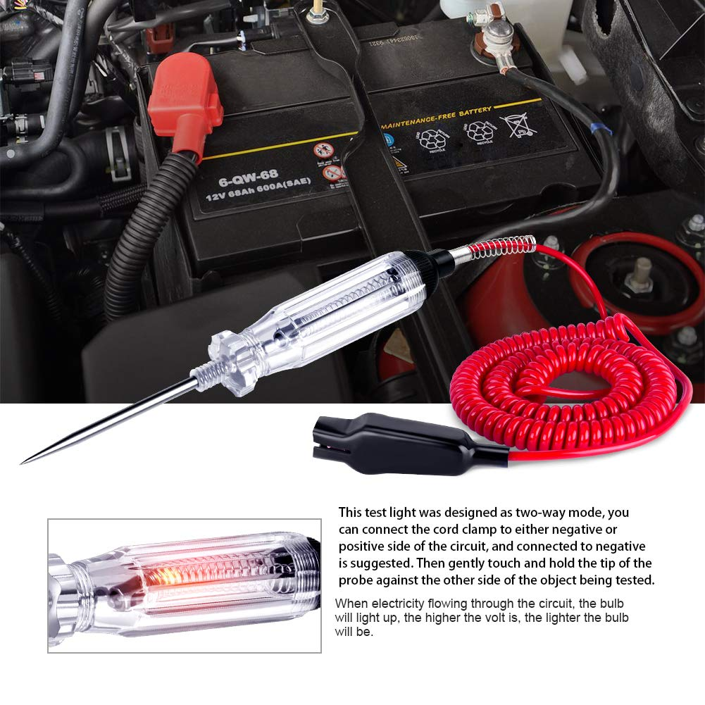 Large Size Heavy Duty 3-48V Digital LCD Circuit Tester with 140 Inch Extended Spring Wire,Car Truck Low Voltage /& Light Tester with Stainless Probe