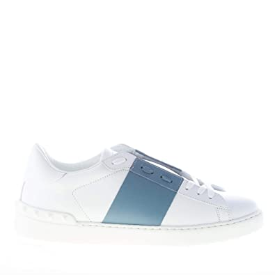 ce16e2dc3e7c Valentino Men Shoes White Leather Open Sneaker with Blue Band NY0S0830 BLU  G62  Amazon.co.uk  Shoes   Bags