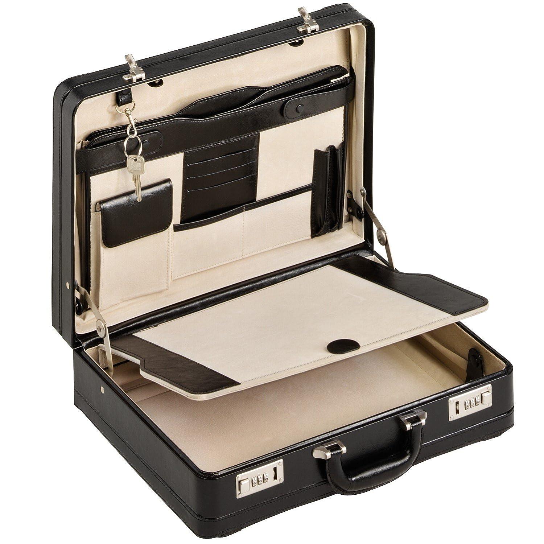Aktenkoffer Echt Leder schwarz XL Attache Attachekoffer mit Doppel-Dehnfalte 28308