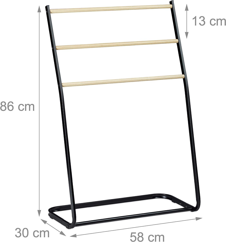 HxBxT HLMH-01-90-65-9005 Tiefschwarz HOLZBRINK Metall Handtuchhalter f/ür Badezimmer Kleiderst/änder Freistehender Handtuchst/änder mit 2 Stangen 90x65x20 cm