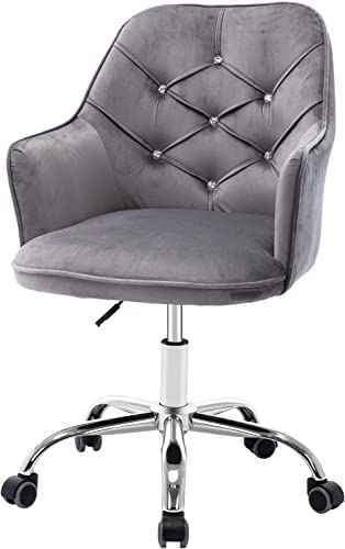 SSLine Home Office Chair,Modern Velvet Desk Chair,360 Swivel Accent Chair,Upholstered Adjustable Swivel Armchair Reception Chair Nice Task Chair