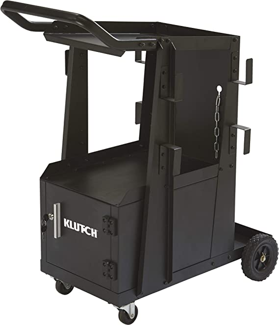 Klutch 2-Tier Welding Cart with Locking Cabinet - 27 1/4in.L x 18 3/4in.W x 35 3/4in.H