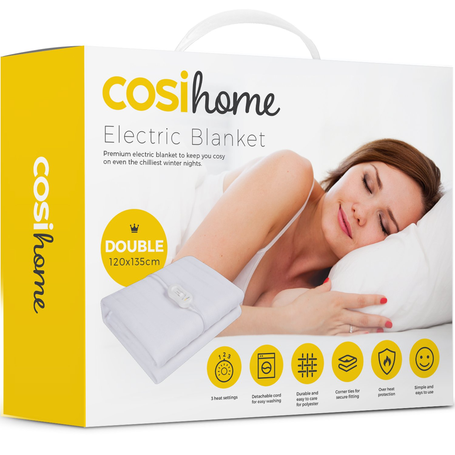 Premium Comfort Double Electric Blanket - Control with 3 Heat Settings, Polyester, White product image