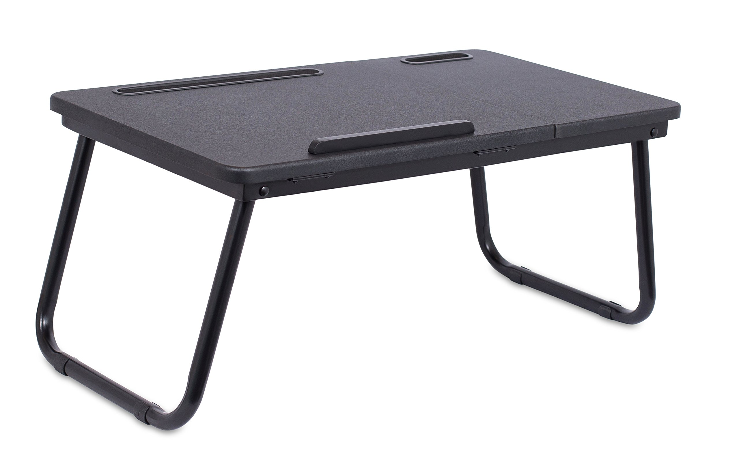 Sofia + Sam Lap Tray with Tablet & Phone Slots | Metal Folding Legs | Lap Desk with Tilting Top | Laptop Stand | Breakfast Serving Bed Tray | Black by Sofia + Sam (Image #2)
