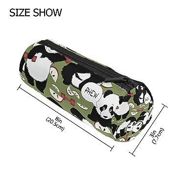TIZORAX Panda mancuernas saludable estilo de vida estuche bolígrafo con cremallera bolsa de monedas organizador maquillaje cosmético bolsa para mujeres ...