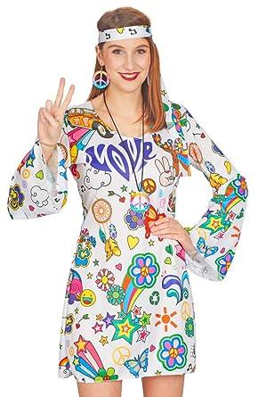 8051f0cf39465 Andrea Moden Hippie Damen Kostüm Hope - Weiß Bunt - Flower Power Love  Minikleid Kostümset 60er 70er Jahre Stil  Amazon.de  Bekleidung