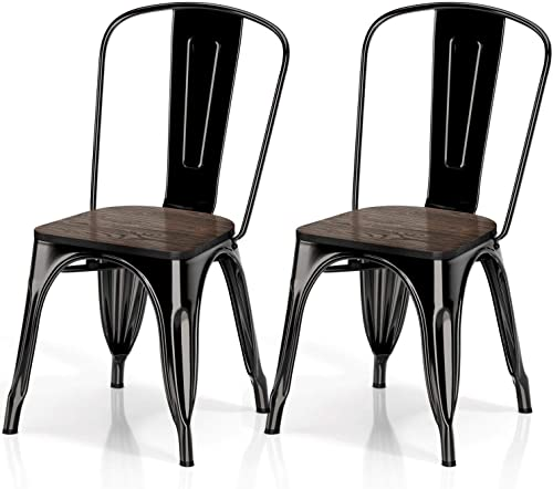 VIPEK Metal Indoor-Outdoor Dining Chairs Industrial Kitchen Dining Chair
