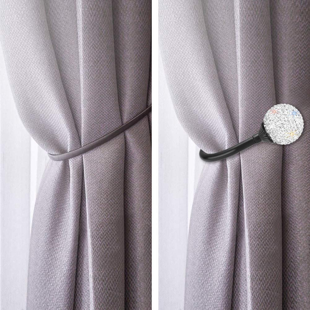 SAVORI Ball Curtain Holdback Bling Curtain Tiebacks Pair Crystal Decorative Curtain Drapery Holdbacks with Screws 2 Pack for Home Office Kitchen AB Color