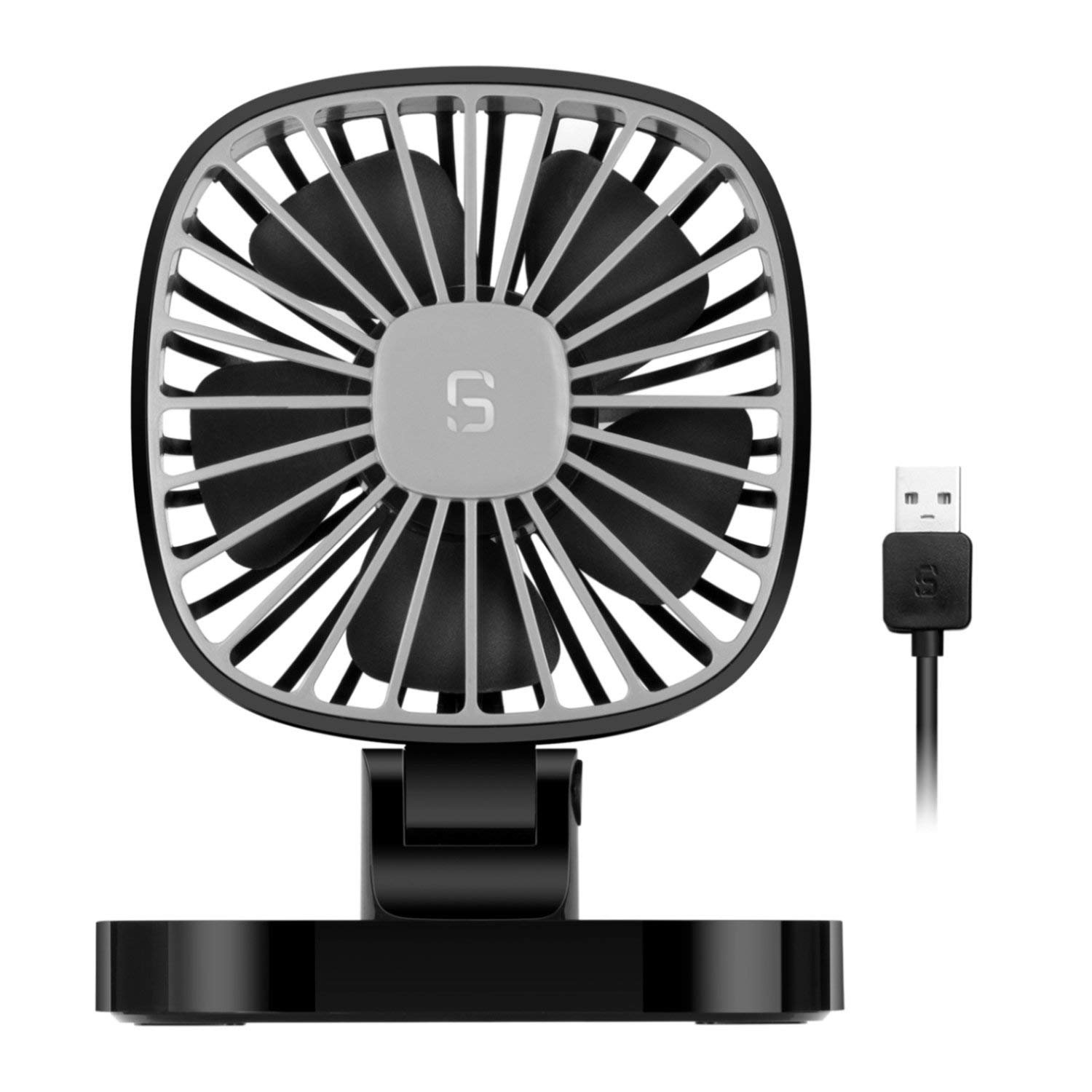 COMLIFE 5V USB Electric Car Fan, 4 Inch Rotatable Car Cooling Fan with 3 Speeds, Quiet Powerful Car Air Circulator Fan for All Family Car, Sedan, SUV, Golf Cart, Truck, Boat or Other Vehicles