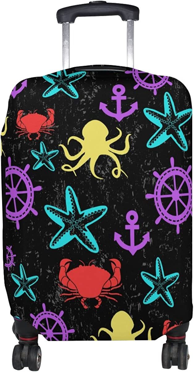 LAVOVO Colorful Starfish Anchor Octopus Luggage Cover Suitcase Protector Carry On Covers