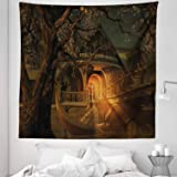 Lunarable Fantasy Tapestry Queen Size, Enchanted View Elven Boat Floral Tree Fairytale Night Design, Wall Hanging Bedspread Bed Cover Wall Decor, 88 W X 88 L Inches, Cinnamon Brown Sage Green