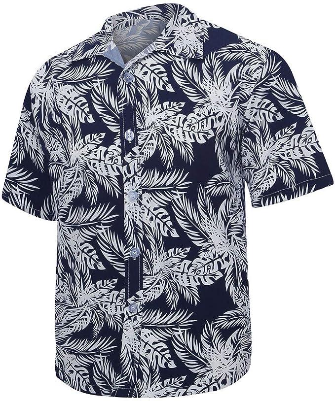 YYear Men Button Up Hawaii Beach 3D Printed Short Sleeve Dress Shirts