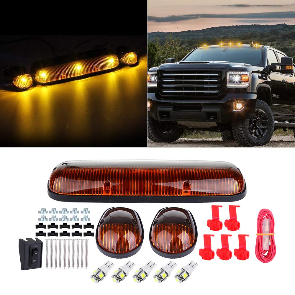 cciyu 3pcs Amber Cab Marker Light Cab Roof Running Top Clearance Marker Light Assembly T10-5-5050-SMD 194 168 White with Wiring Pack fit for 2002-2007 Chevy Silverado//GMC Sierra 1500 2500HD 3500