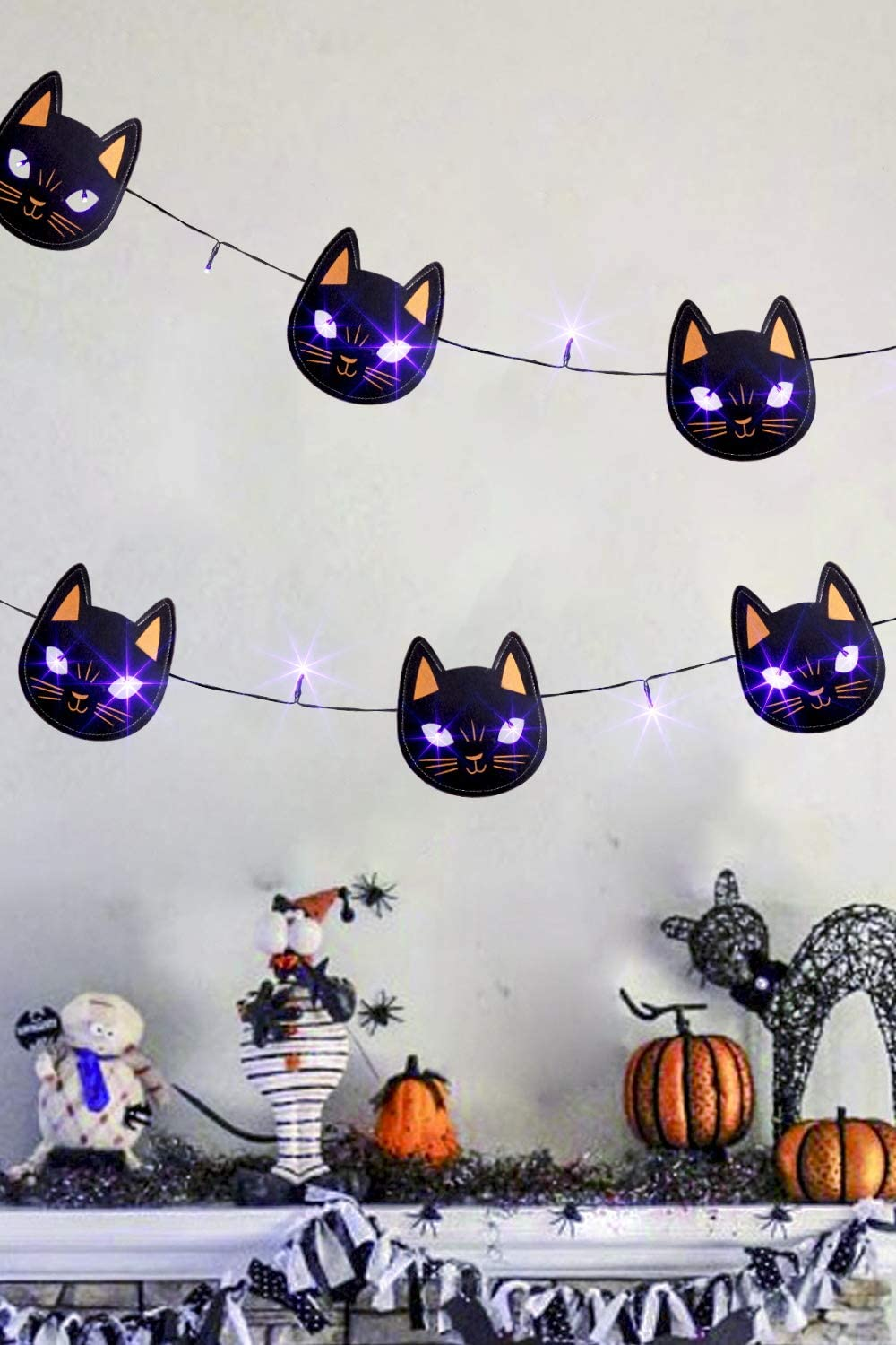 EAMBRITE 5.75 FT 15LT LED Halloween String Lights Fabric Banners Trick or Treat Black Cat and Black Bat Banners Decorations Supplies-Set of 2