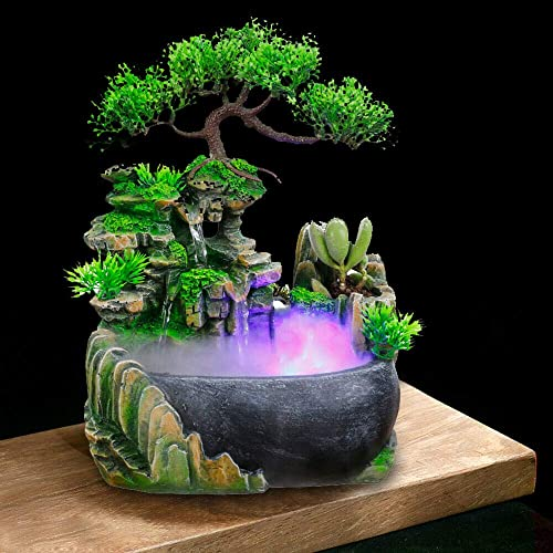 TFCFL Desktop Fountain Waterfall with Rockery LED Colorful Lights Indoor Relaxation Resin Ornament for Office, Home, Bedroom Desk Decoration US Plug 110V