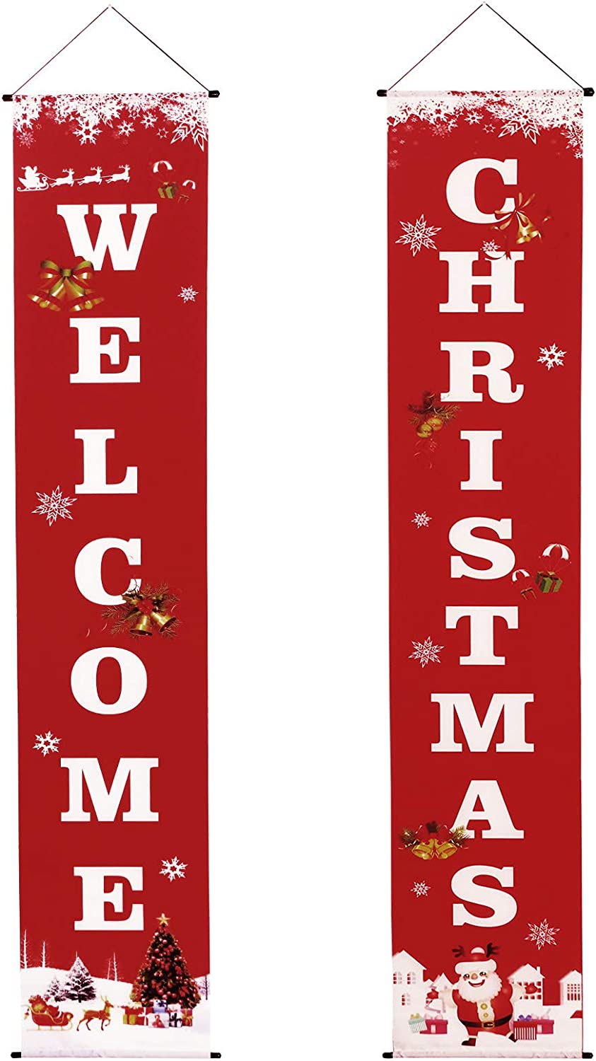 Welcome Christmas Banner Xmas Decor for Home Wall Door Hanging Home Wall Front Door Apartment Party Red