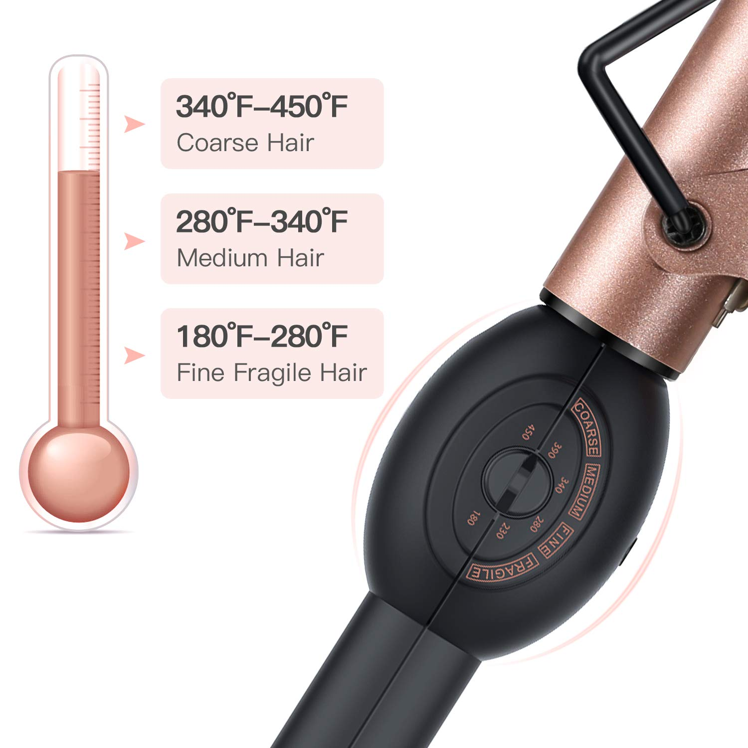 BESTOPE Curling Iron 1 inch Tourmaline Ceramic Curling Wand, Instant Heat Ceramic Curling Iron with Rotary Temperature Dial 1 Hair Styling Irons for All Hair Types – 180-450 F Include Glove